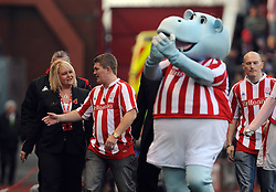 Britannia Stadium Stoke City v Wolverhampton Wanderers  (2-2) 31/10/09.Ricky Fatton! Man City Fan Ricky Hatton  - clearly over his best fighting weight almost matches the Stoke Mascot's girth  - at the game to promote his brother's fight on November 13th 2009.