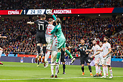 Nicolas Otamendi of Argentina battles with Sergio Ramos and David De Gea of Spain during the International friendly game football match between Spain and Argentina on march 27, 2018 at Wanda Metropolitano Stadium in Madrid, Spain - Photo Rudy / Spain ProSportsImages / DPPI / ProSportsImages / DPPI