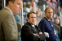 KELOWNA, CANADA, NOVEMBER 30: Scott Beattie, assistant coach of the Tri City Americans stands on the bench as the Tri City Americans visit the Kelowna Rockets  on November 30, 2011 at Prospera Place in Kelowna, British Columbia, Canada (Photo by Marissa Baecker/Shoot the Breeze) *** Local Caption *** Scott Beattie;