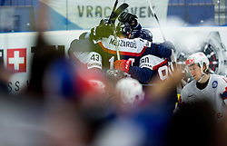 Players of Slovakia celebrate after scoring first goal during Ice Hockey match between Slovakia and Norway at Day 6 in Group B of 2015 IIHF World Championship, on May 6, 2015 in CEZ Arena, Ostrava, Czech Republic. Photo by Vid Ponikvar / Sportida