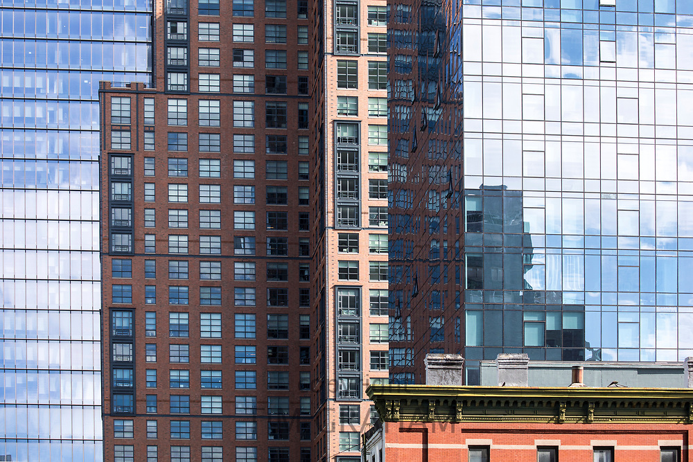 Skyscrapers tower blocks viewed from The High Line on west side Manhattan, New York City