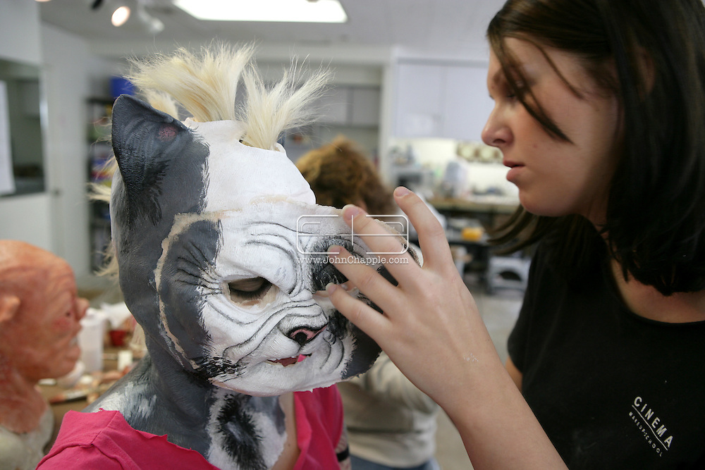 23rd October 2008, Los Angeles, California. Extreme Makeover!  Students at the Cinema Makeup School in Hollywood California, graduate from a special effects make-up course.  In this part of the course, movie industry hopefuls learn to design and create latex masks over a period of four weeks, before demonstrating their competence by transforming models into drag queens, aliens and monsters in only eight hours. Pictured is: Alley Hamilton (23) as a mutant punk cat. PHOTO © JOHN CHAPPLE / REBEL IMAGES.john@chapple.biz    www.chapple.biz.(001) 310 570 9100.