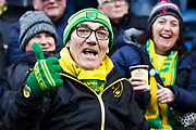 Norwich fan before the The FA Cup match between Burnley and Norwich City at Turf Moor, Burnley, England on 25 January 2020.