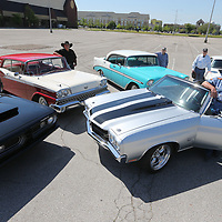 Doug Harrison, from left, '68 Plymouth Barracuda, Doug Horne '59 Ford Galaxy 500, Joe Bailey '56' Chevy Bel-Air, Jack Martin '69 Chevy Camaro and Jacky Blackburn '70 Chevy Chevelle