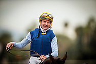 ARCADIA, CA - JANUARY 07:Kent Desormeaux smiles after winning the San Gabriel Stakes at Santa Anita Park on January 7, 2017 in Arcadia, California. (Photo by Alex Evers/Eclipse Sportswire/Getty Images)