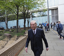 British comedian singer Des O'Connor arrives as a character witness for PR expert Max Clifford on trial at Southwark Crown Court, London, United Kingdom. Tuesday, 8th April 2014. Picture by Max Nash / i-Images