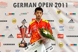 27.02.2011, Westfalenhalle Dortmund, GER, Tischtennis, German Open, im Bild Gewinner der German Open 2011 Zhang Jike (CHN) mit Pokal und Check, EXPA Pictures © 2011, PhotoCredit: EXPA/ A. Neis