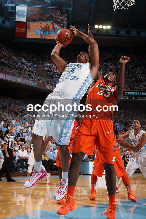 CHAPEL HILL, NC - JANUARY 26: Kennedy Meeks #3 of the North Carolina Tar Heels plays the Clemson Tigers on January 26, 2014 at the Dean E. Smith Center in Chapel Hill, North Carolina. North Carolina won 61-80. (Photo by Peyton Williams/UNC/Getty Images) *** Local Caption *** Kennedy Meeks