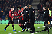 Substitution - Goal scorer Harry Wilson (22) of AFC Bournemouth is replaced by Lewis Cook (16) of AFC Bournemouth during the Premier League match between Bournemouth and Brighton and Hove Albion at the Vitality Stadium, Bournemouth, England on 21 January 2020.