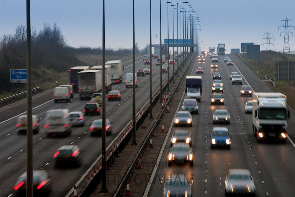 Rush hour  traffic on M1 Motorway near Hertfordshire, United Kingdom.