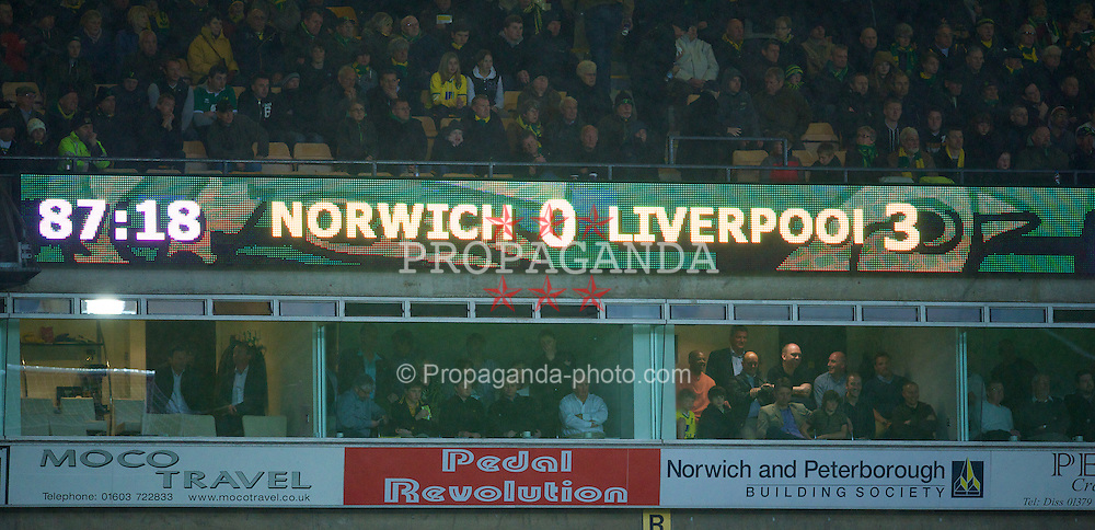 NORWICH, ENGLAND - Saturday, April 28, 2012: The scorboard records Liverpool's 3-0 away victory over Norwich City during the Premiership match at Carrow Road. (Pic by David Rawcliffe/Propaganda)
