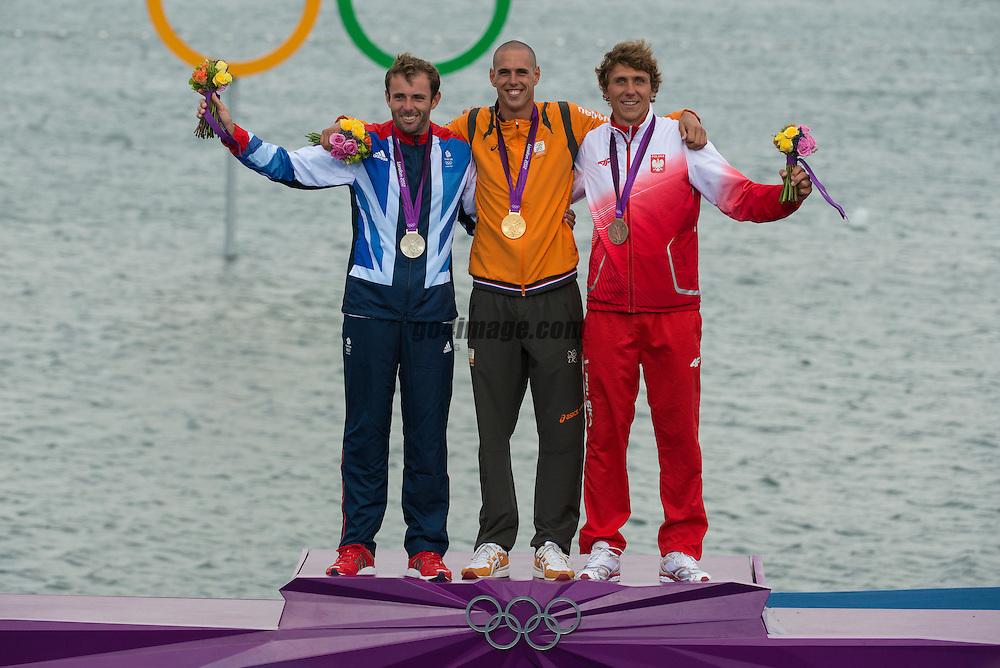 2012 Olympic Games London / Weymouth<br /> RSX Medal Ceremonies<br /> Dempsey Nick, (GBR, RS:X Men)<br /> Van Rijsselberge Dorian, (NED, RS:X Men)<br /> Miarczynski Przemyslaw, (POL, RS:X Men)