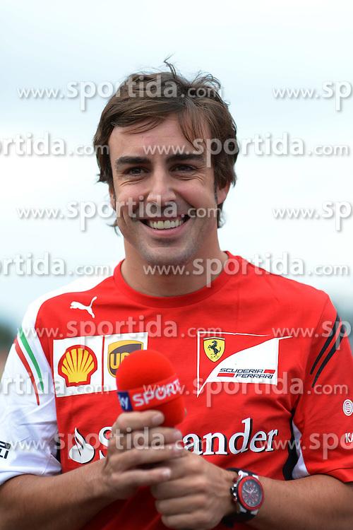 03.07.2014, Silverstone Circuit, Silverstone, ENG, FIA, Formel 1, Grand Prix von Grossbritannien, Vorberichte, im Bild Fernando Alonso (ESP) Ferrari // during the preperation of British Formula One Grand Prix at the Silverstone Circuit in Silverstone, Great Britain on 2014/07/03. EXPA Pictures &copy; 2014, PhotoCredit: EXPA/ Sutton Images/ Lundin<br /> <br /> *****ATTENTION - for AUT, SLO, CRO, SRB, BIH, MAZ only*****
