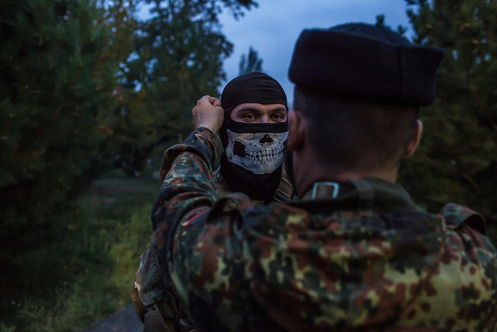 Members of the Azov Battalion, a pro-Ukraine militia, at the group's base on Wednesday, October 15, 2014 in Urzuf, Ukraine. Photo by Brendan Hoffman, Freelance