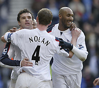 Photo: Aidan Ellis.<br /> Bolton Wanderers v Fulham. The Barclays Premiership. 11/02/2007.<br /> Bolton's Nicolas Anelka (R) and Kevin Nolan celebrate with goal scorer Gary Speed