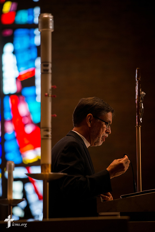 The Rev. William Cwirla, senior pastor and presiding liturgist at Holy Trinity Lutheran Church, Hacienda Heights, Calif., gives a keynote talk during the 2017 Institute on Liturgy, Preaching and Church Music on Wednesday, July 26, 2017, at Concordia University Chicago in River Forest, Ill. LCMS Communications/Erik M. Lunsford