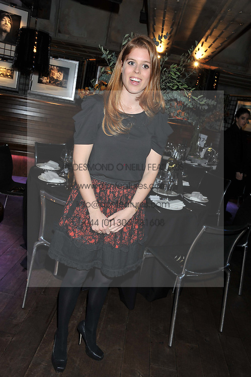 PRINCESS BEATRICE OF YORK at the Wild for WSPA dinner in aid of the charity World Society for the Protection of Animals held at Under The Bridge, Stamford Bridge, Fulham Road, London on 23rd February 2012.