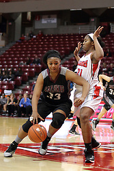 04 January 2015:  Azia Washington works her way towards the basket defended by Zenobia Bess during an NCAA MVC (Missouri Valley Conference) women's basketball game between the Southern Illinois Salukis and the Illinois Sate Redbirds at Redbird Arena in Normal IL