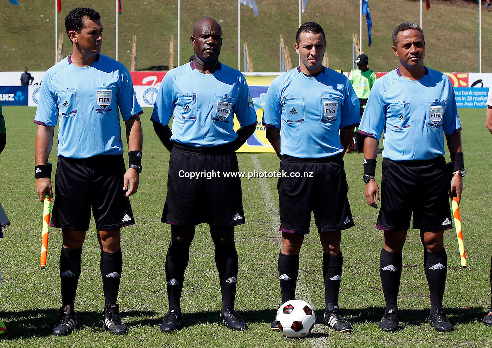 Referee Kader Zitouni and his assistants. OFC Nations Cup 2012, 3rd & 4th Play Off, Solomon Islands v New Zealand, Lawson Tama Honiara, Sunday 10th June 2012. Photo: Shane Wenzlick