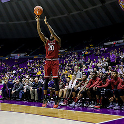 Feb 1, 2017; Baton Rouge, LA, USA; South Carolina Gamecocks guard Justin McKie (20) shoots against the LSU Tigers during the second half of a game at the Pete Maravich Assembly Center. South Carolina defeated LSU 88-63. Mandatory Credit: Derick E. Hingle-USA TODAY Sports