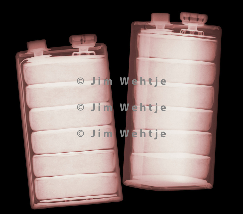 X-ray image of 9 volt batteries (color on black) by Jim Wehtje, specialist in x-ray art and design images.