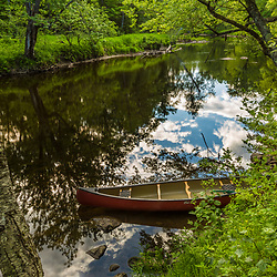 A canoe on the West Branch of the Pleasant River near Silver Lake in Piscataquis County, Maine. Near Greenville.