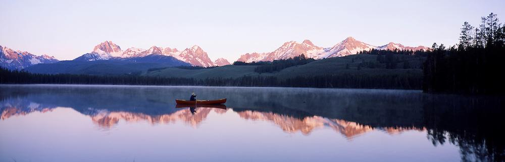 Canoe on  Redfish Lake, Sawtooth Mtns. Idaho.