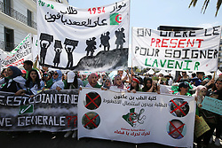 April 30, 2019 - Algiers, Algeria - Algerian students hold placards on April 30, 2019 as they continue their weekly demonstrations in the capital, Algiers, to demand the overthrow of the system. (Credit Image: © Billal Bensalem/NurPhoto via ZUMA Press)