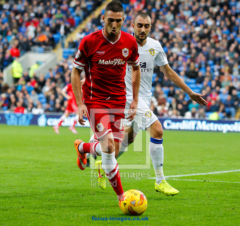 Federico Macheda of Cardiff City against Leeds United during the Sky Bet Championship match at the Cardiff City Stadium, Cardiff<br /> Picture by Mike  Griffiths/Focus Images Ltd +44 7766 223933<br /> 01/11/2014