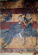 'David and Goliath'.  The boy David with the body of Goliath the giant who he has killed with a sling shot.  Master of the Last Judgement, c1130.  Museum of Catalan Art, Barcelona.