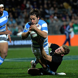 Nicolas Sanchez scores during the Rugby Championship match between the NZ All Blacks and Argentina Pumas at Yarrow Stadium in New Plymouth, New Zealand on Saturday, 9 September 2017. Photo: Dave Lintott / lintottphoto.co.nz