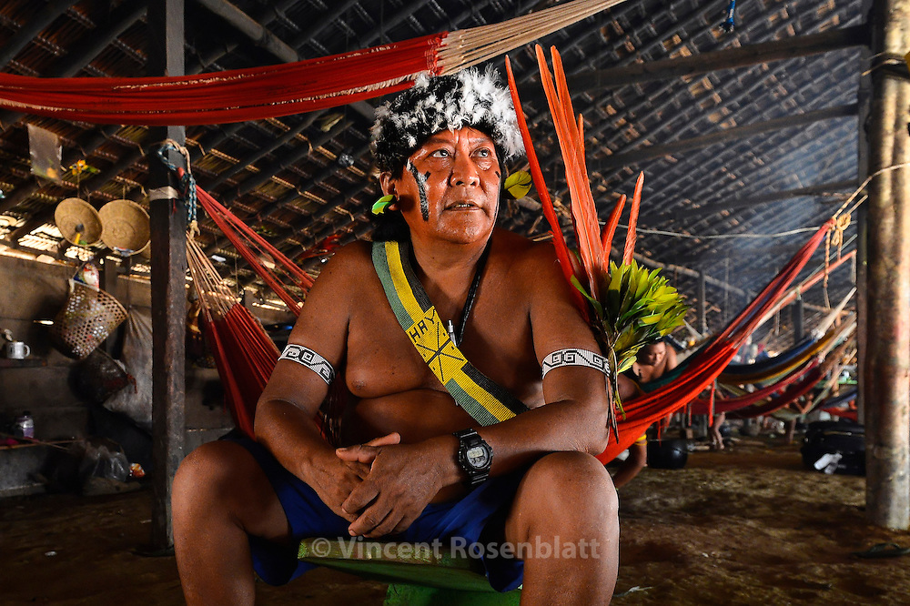 Davi Kopenawa Yanomami, political leader of the Yanomai, most famous indigenous protagonist of Brasil, re-elected president of the Hutukara association. Here in his village of Watoriki.