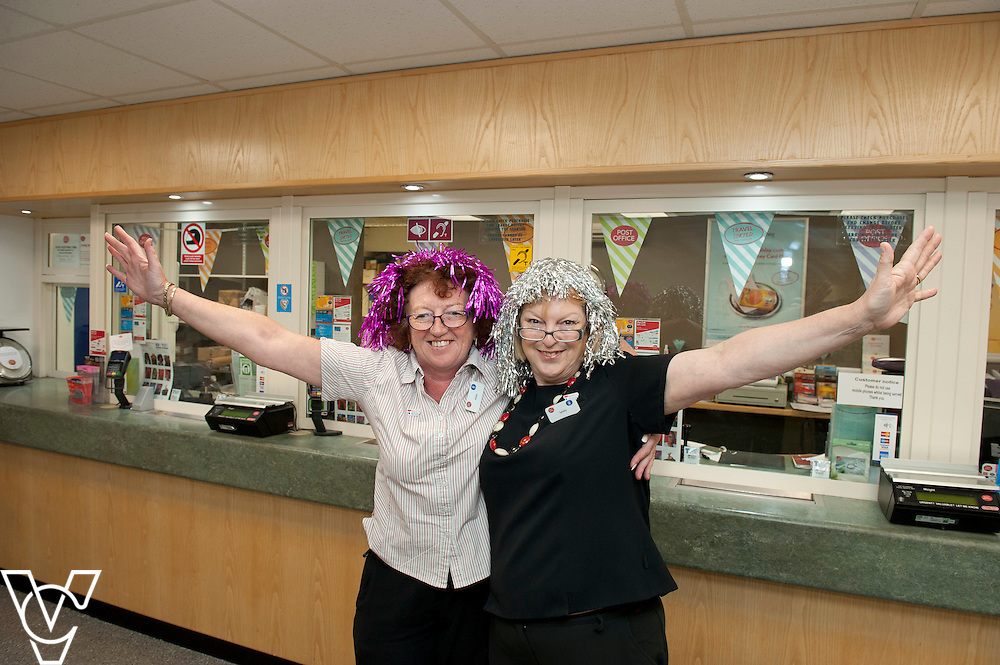 Pictured is Long Sutton Post Office colleagues, from left, Alison Lakey and Sandra Ashton<br /> <br /> Lincolnshire Co-operative colleagues have been raising money for the Teenage Cancer Trust during their 'Get Wiggy With It' day!<br /> <br /> Date: July 31, 2015