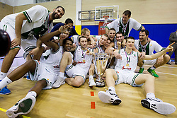 Boris Rothbart, Deon Thompson, Sasu Salin, Goran Jeretin, Jaka Blazic, Jan Mocnik, Gezim Morina, Vladimir Dasic, Goran Jagodnik, Dino Muric and Zeljko Zagorac of Olimpija celebrate after winning the basketball match between KK Union Olimpija Ljubljana and KK Krka Novo mesto of finals of 11th Slovenian Spar Cup 2012, on February 19, 2012 in Sports hall Brezice,  Brezice, Slovenia. Union Olimpija defeated Krka 68-63 and became Slovenian Cup Champion 2012. (Photo By Vid Ponikvar / Sportida.com)