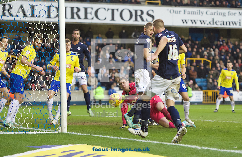 Mark Beevers of Millwall comes close to scoring during the Sky Bet Championship match at The Den, London<br /> Picture by Alan Stanford/Focus Images Ltd +44 7915 056117<br /> 07/02/2015