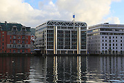 Grieg seafood company modern office building architecture by the harbour, city of Bergen, Norway