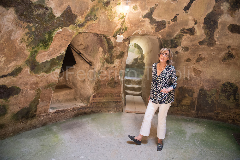 Marisa Amoroso portrayed in  the underground tank system of her hotel )Corte San Pietro) , which is having a reuse of wellness
