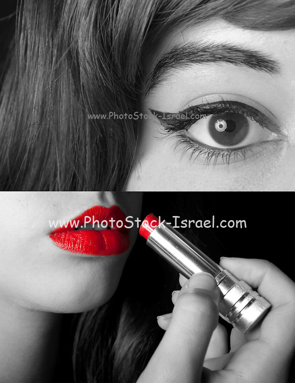 Two images of a young teen applying make up in black and white only the red lipstick is in color