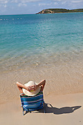 Relaxing on Sunbay beach in Vieques Island, Puerto Rico.