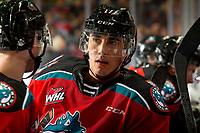KELOWNA, BC - OCTOBER 12: Alex Swetlikoff #17 of the Kelowna Rockets stands at the boards during a time out against the Kamloops Blazers at Prospera Place on October 12, 2019 in Kelowna, Canada. (Photo by Marissa Baecker/Shoot the Breeze)