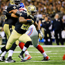 Nov 1, 2015; New Orleans, LA, USA; New Orleans Saints running back C.J. Spiller (28) runs against the New York Giants during the second quarter of a game at the Mercedes-Benz Superdome. Mandatory Credit: Derick E. Hingle-USA TODAY Sports