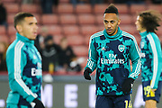 Arsenal forward Pierre-Emerick Aubameyang (14) during the warm up ahead of the Premier League match between Sheffield United and Arsenal at Bramall Lane, Sheffield, England on 21 October 2019.