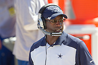 18 September 2011: Secondary coach Brett Maxie of the Dallas Cowboys coaches against the San Francisco 49ers during the Cowboys 27-24 overtime victory against the 49ers in an NFL football game at Candlestick Park in San Francisco, CA.