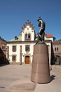 Eastern Europe Poland Malopolska Krakow Princess Czartoryski Museum and Merkuriusz (Mercury) Statue in  Pijarska Street
