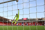 Dean Henderson of Manchester United U23's saves and pushes ball over bar during the Under 23 Premier League 2 match between Southampton and Manchester United at St Mary's Stadium, Southampton, England on 22 August 2016. Photo by Phil Duncan.