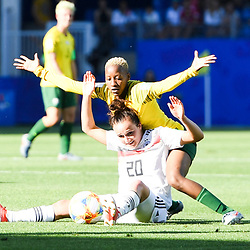 Lina Magull of Germany and Busisiwe Ndimeni of South Africa during the Women's World Cup match between Germany and South Africa at Stade de la Mosson on June 17, 2019 in Montpellier, France. (Photo by Alexandre Dimou/Icon Sport)