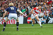 Japan's Kenki Fukuoka during the Rugby World Cup Pool B match between Scotland and Japan at the Kingsholm Stadium, Gloucester, United Kingdom on 23 September 2015. Photo by Shane Healey.