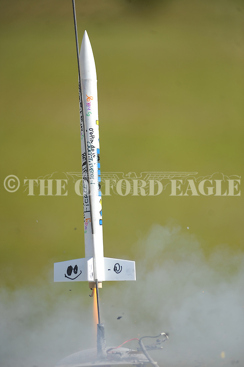 Ansley McDaniel's rocket at a launch at Della Davidson Elementary in Oxford, Miss. on Wednesday, May 8, 2013.