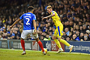 Mitch Pinnock (11) of AFC Wimbledon looks for a way past Anton Walkes (2) of Portsmouth during the EFL Sky Bet League 1 match between Portsmouth and AFC Wimbledon at Fratton Park, Portsmouth, England on 1 January 2019.