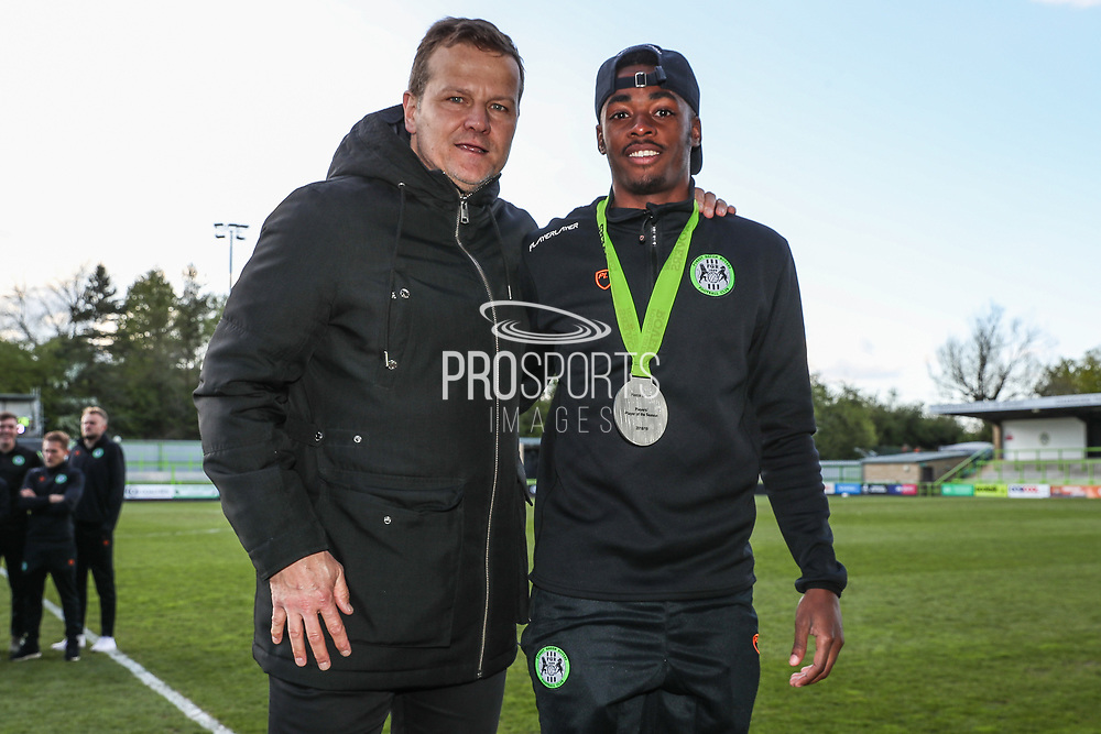Forest Green Rovers Reece Brown(10) with Forest Green Rovers manager, Mark Cooper players player of the season during the EFL Sky Bet League 2 match between Forest Green Rovers and Exeter City at the New Lawn, Forest Green, United Kingdom on 4 May 2019.